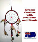 DREAM CATCHER NATIVE AMERICAN INDIAN STYLE RED WITH FEATHERS AND BEADS
