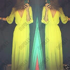 Womens Sexy Lime Green Maxi Floor Length Low V Neck Plunge Party Dress UK Ladies