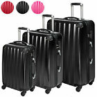 3x polycarbonate travel luggage set 4 wheels trolley suitcase bag hard shell