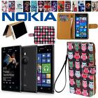 Flip Stand Card Wallet Leather Cover Case Pouch For Various Nokia Asha Phones
