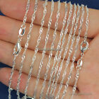 "Wholesale lots 10pcs 2mm 925 Sterling Silver Plated Wave Chain Necklace 16""-30"""