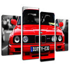 MCar035 Red BMW Dirty E30 M3 Canvas Art Multi Panel Split Picture Print
