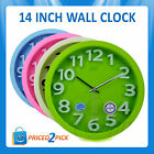 Large 14inch Retro Colourful Round Wall Clock Vintage Modern Living Room Study