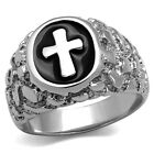 No Stone Epoxy Cross Silver Stainless Steel Mens Nugget Ring