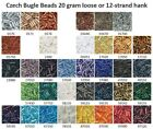 Czech 11/0 Bugle Beads 20 gram loose or 12-strand hank