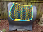 Custom Emglish Saddle Pad Mosaic Print Blues Black Yellow Ribbon Trim