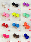 Fashion Candy Color Rainbow Double Side Two Ball Earring Stud Frosted Azorite