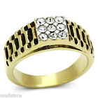 Nine Bling Crystal Pave Gold EP Two Tone Mens Stainless Steel Ring