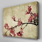 FL364 Vintage Red Orchids Canvas Wall Art Multi Panel Split Picture Print