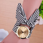 New Women Fashion Geneva Stripe Cloth Pattern Dress Quartz Analog Wrist Watch