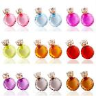 Lady Casual Faceted Transparent Crystal Double Side Earrings Two Ball Studs
