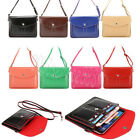 Leather Cross Body 2 Pocket Phone Pouch Wallet Case Mini Bag For iPhone/Samsung