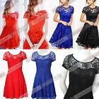 New Women Vintage Lace Short Sleeve Formal Evening Cocktail Mini Party Dress