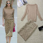 Knit Long Sleeve Sweater+ Hollow Out Embroidered Slim Skirt Skirt Suit