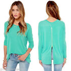 Womens Lady Zipper Back-Long Sleeve Casual Solid Loose Shirt Tops Blouse,Green