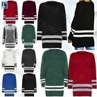Womens Ladies Chunky Knitted Oversize White Stripe Long Sweater Jumper Dress Top