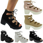 NEW WOMENS LADIES ANKLE CLEATED OPEN TOE LACE UP BLOCK HIGH HEEL SHOE SIZE 3-8