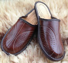 Mens Leather Slip On Winter Scuff Slippers House Shoes Brown Mules Sizes 7 - 13