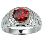 8x10mm Garnet Red CZ 925 Sterling Silver Men Ring Size 10 to 13 Jewelry