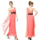 One Shoulder Coral Long Chiffon Black Lace Summer Party Cocktail Dress 08086