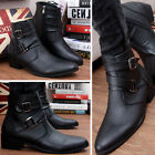 Mens Punk Zipper Buckle Pointed Toe PU Leather Casual Ankle Boots Dress Shoe SZ
