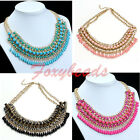 Elegant Lady Teardrop Tassels Bead Crystal Choker Chunky Statement Bib Necklace