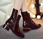 WOMEN'S PLUS SIZE PATENT LEATHER BLOCK HEEL POINTY TOE ZIPPER ANKLE COMBAT BOOTS