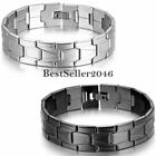 16mm Wide Stainless Steel Men's Chain Link Bracelet Cuff Bangle Wristband 8.3""