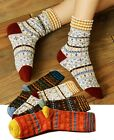 Pairs of Women Vintage Colorful Dress Argyle Pattern Cotton High Loose Socks