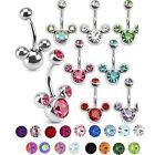 Belly Bar Navel Button Ring Steel Triple Crystal Gem Surgical Steel 1.6mm 10mm
