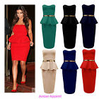 LADIES WOMENS CELEB STRAPLESS BANDEAU BOOBTUBE BELTED FRILL PEPLUM BODYCON DRESS