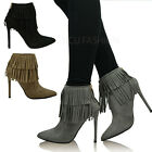 New Womens Stiletto Ankle Boots Ladies Fringe Booties Tassel High Heel Shoe Size