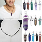 Natural Crystal Gems Hexagonal Pointed Reiki Chakra Bead Real Leather Necklace