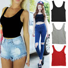 Sexy Women Scoop Neck Cropped Belly Tank Top Vest Sleeveless Fitted Tee Stretchy
