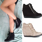 WOMENS LADIES MID HI HIGH TOP HIDDEN WEDGE PLATFORM ANKLE BOOTS TRAINERS SIZE