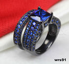 Gothic Blue Sapphire Black Rhodium Plated 925 Silver Engagement Wedding Rings
