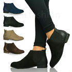 New Ladies Womens Flat Low Heel Chelsea Ankle Boots Pull On Stretch Shoes Size