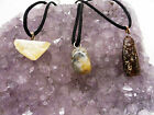 Bulk x24 Fossilised Amber Tiger Shark Tooth Coprolite Corded Pendant Necklaces