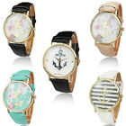Floral Men Womens Geneva Leather Band Watch Analog Quartz Anchor Wrist Watches