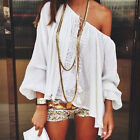 New Women Lady Loose Beach Lace Long Sleeve Top Blouse Tee Shirt T-Shirt