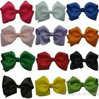 "Girls Baby Newborn 4.5"" Grosgrain Ribbon Hair Clip Hairbow Headwear 15 Colors 25"