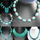 Women Howlite Turquoise Round Freeform Gemstone Beads Necklace Jewelry Chic Gift