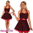Ladies 50s 1950s Cherry Pinup Costume Hop Diva Rock Polka Fancy Dress
