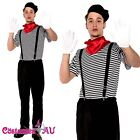 Mens Mesmerizing Mime Costume French Artist Clown Circus Fancy Dress Outfits