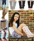 Warm Kids Girls Trendy Knitted Button Lace Leg Warmers Trim Boot Cuffs Socks