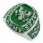 United States Army Green and Silver Stainless Steel Star and Seal Mens Ring