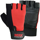 MRX Weight Lifting Gloves Fitness Gym Training Glove Exercise Leather Black/Red