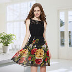Women's Sleeveless Black Lace Floral Printed Short Casual Dress 05190