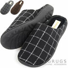 Mens Fleece Lined Checked Design Mules / Slippers