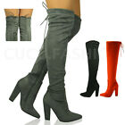 New Womens Thigh High Over the Knee Boots Ladies Stretch Block Heel Shoes Size